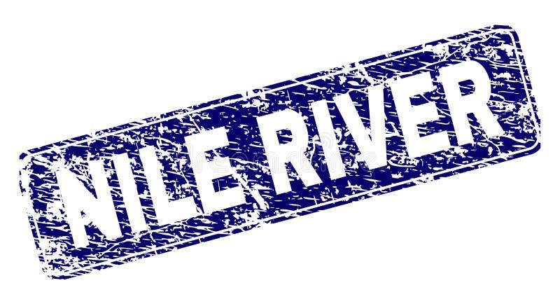 Scratched NILE RIVER Framed Rounded Rectangle Stamp. NILE RIVER stamp seal print with grunge style. Seal shape is a rounded rectangle with frame. Blue vector vector illustration