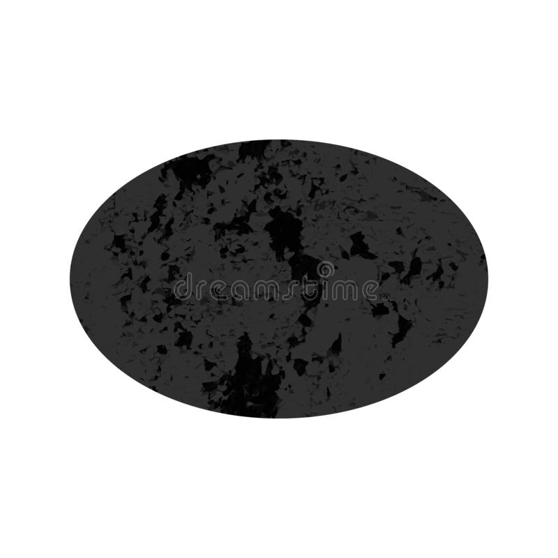 Scratched oval with distressed grunge texture. Scratched oval. Dark figure with distressed grunge texture isolated on white background. Vector illustration vector illustration
