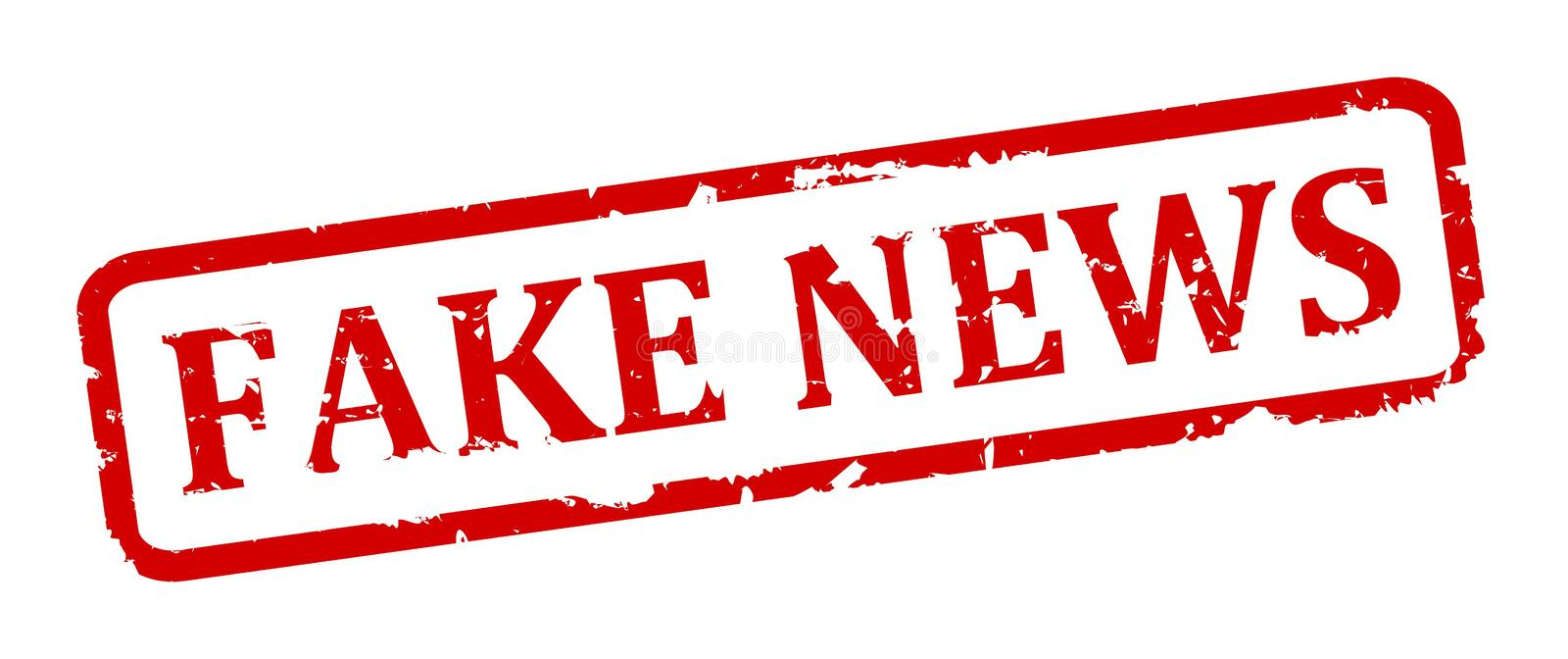 Scratched oval stamp with inscription - fake news. Vector stock illustration