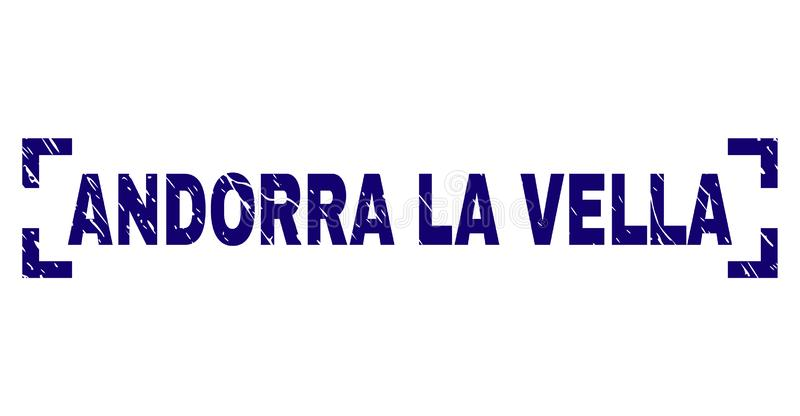 Scratched Textured ANDORRA LA VELLA Stamp Seal Inside Corners. ANDORRA LA VELLA title seal imprint with corroded style. Text title is placed inside corners. Blue vector illustration