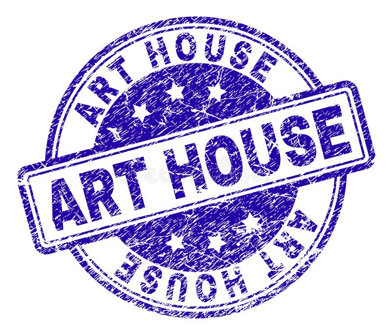 Scratched Textured ART HOUSE Stamp Seal. ART HOUSE stamp seal watermark with distress texture. Designed with rounded rectangles and circles. Blue vector rubber stock illustration