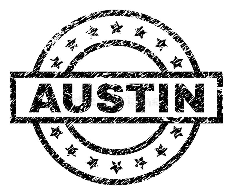 Scratched Textured AUSTIN Stamp Seal royalty free illustration