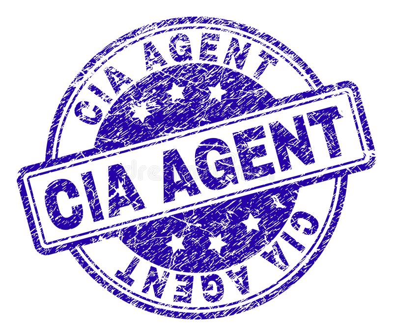 Scratched Textured CIA AGENT Stamp Seal. CIA AGENT stamp seal watermark with distress texture. Designed with rounded rectangles and circles. Blue vector rubber vector illustration