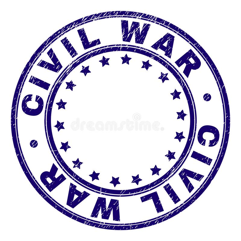 Scratched Textured CIVIL WAR Round Stamp Seal. CIVIL WAR stamp seal watermark with distress texture. Designed with round shapes and stars. Blue vector rubber royalty free illustration