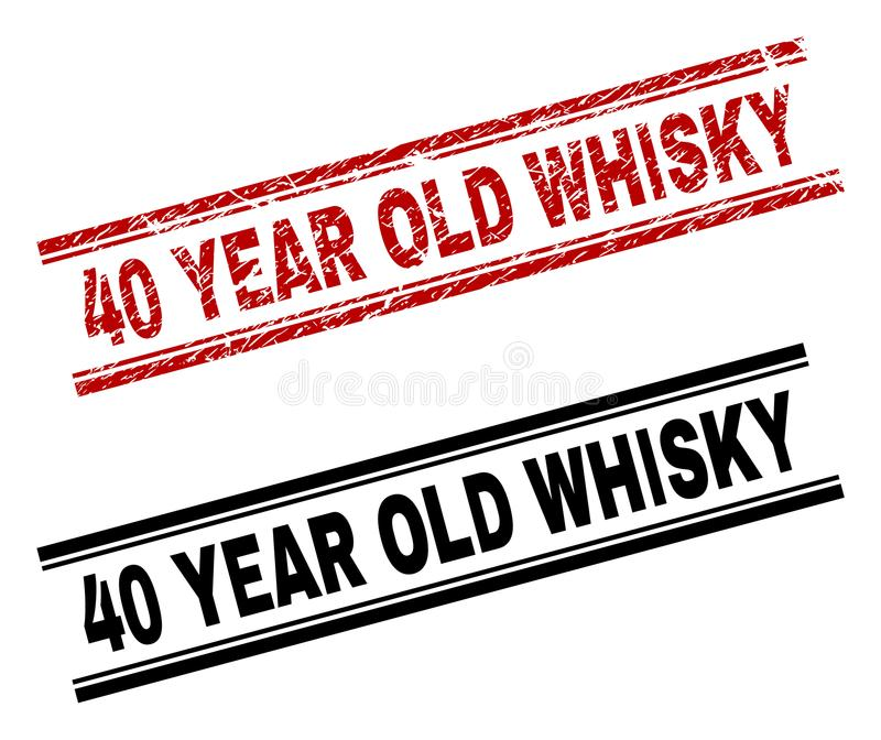 Scratched Textured and Clean 40 YEAR OLD WHISKY Stamp Prints royalty free illustration