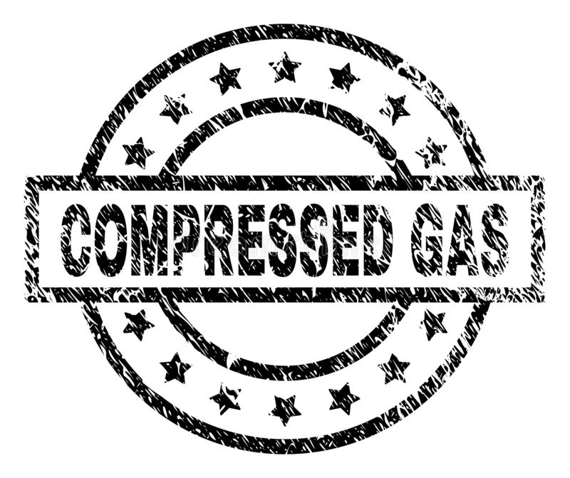 Scratched Textured COMPRESSED GAS Stamp Seal. COMPRESSED GAS stamp seal watermark with distress style. Designed with rectangle, circles and stars. Black vector royalty free illustration