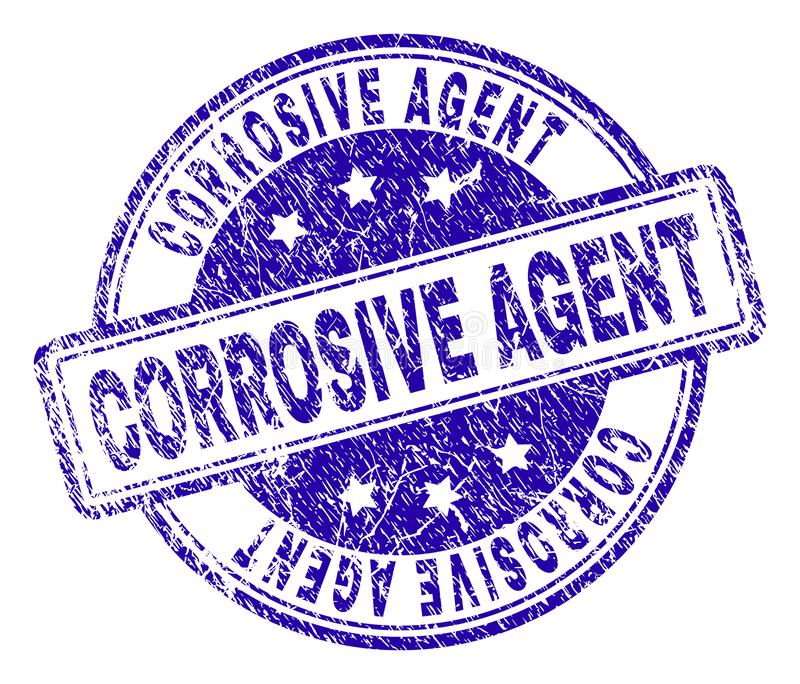 Scratched Textured CORROSIVE AGENT Stamp Seal. CORROSIVE AGENT stamp seal watermark with grunge effect. Designed with rounded rectangles and circles. Blue vector vector illustration