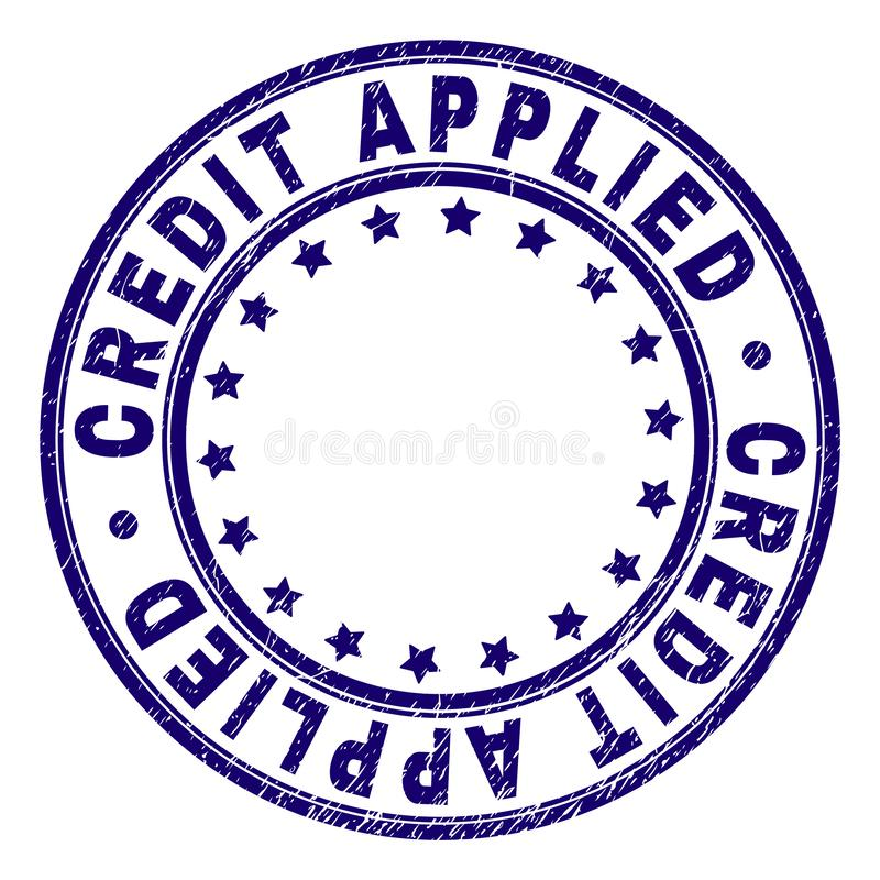 Scratched Textured CREDIT APPLIED Round Stamp Seal stock illustration