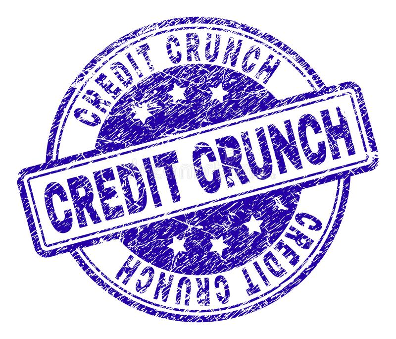 Scratched Textured CREDIT CRUNCH Stamp Seal stock illustration
