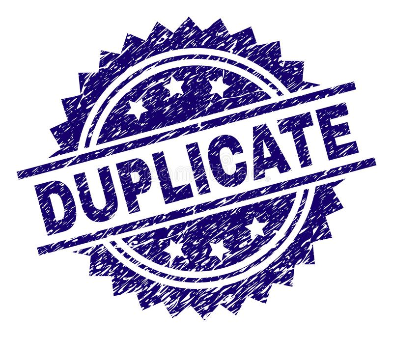 Scratched Textured DUPLICATE Stamp Seal. DUPLICATE stamp seal watermark with distress style. Blue vector rubber print of DUPLICATE text with corroded texture vector illustration