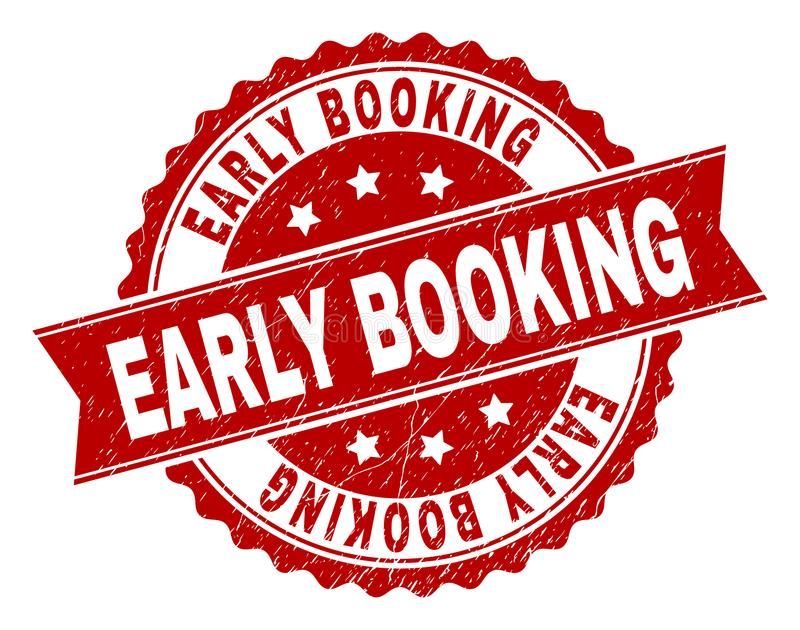 Scratched Textured EARLY BOOKING Stamp Seal stock illustration