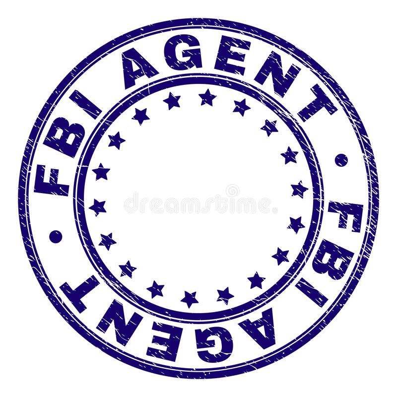 Scratched Textured FBI AGENT Round Stamp Seal. FBI AGENT stamp seal watermark with grunge texture. Designed with round shapes and stars. Blue vector rubber print royalty free illustration