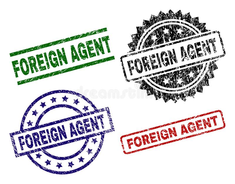 Scratched Textured FOREIGN AGENT Stamp Seals. FOREIGN AGENT seal prints with damaged surface. Black, green,red,blue vector rubber prints of FOREIGN AGENT label stock illustration
