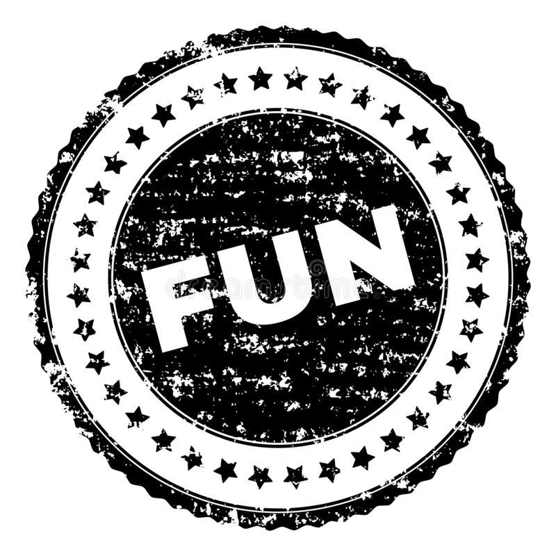 Scratched Textured FUN Stamp Seal. FUN seal print with distress style. Black vector rubber print of FUN title with grunge texture. Rubber seal imitation has royalty free illustration