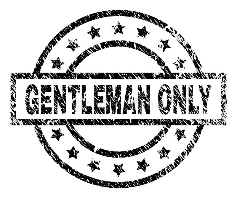 Scratched Textured GENTLEMAN ONLY Stamp Seal royalty free illustration