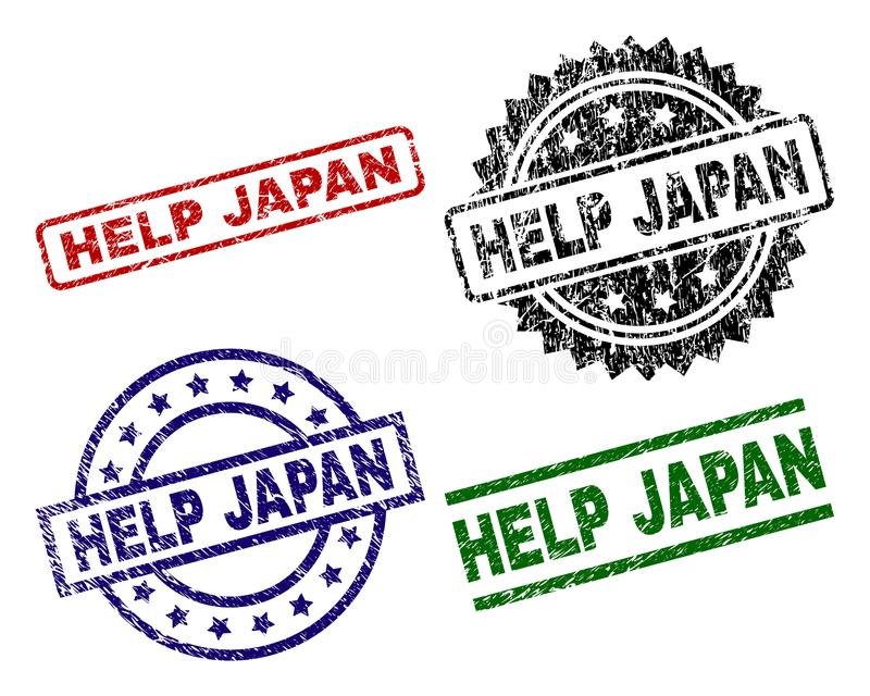 Scratched Textured HELP JAPAN Stamp Seals vector illustration