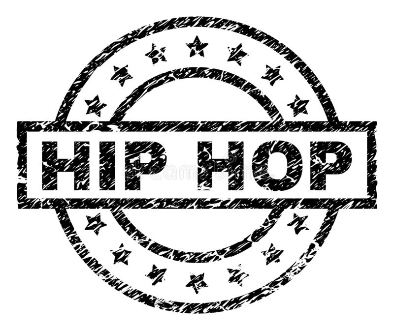 Scratched Textured HIP HOP Stamp Seal. HIP HOP stamp seal watermark with distress style. Designed with rectangle, circles and stars. Black vector rubber print of royalty free illustration