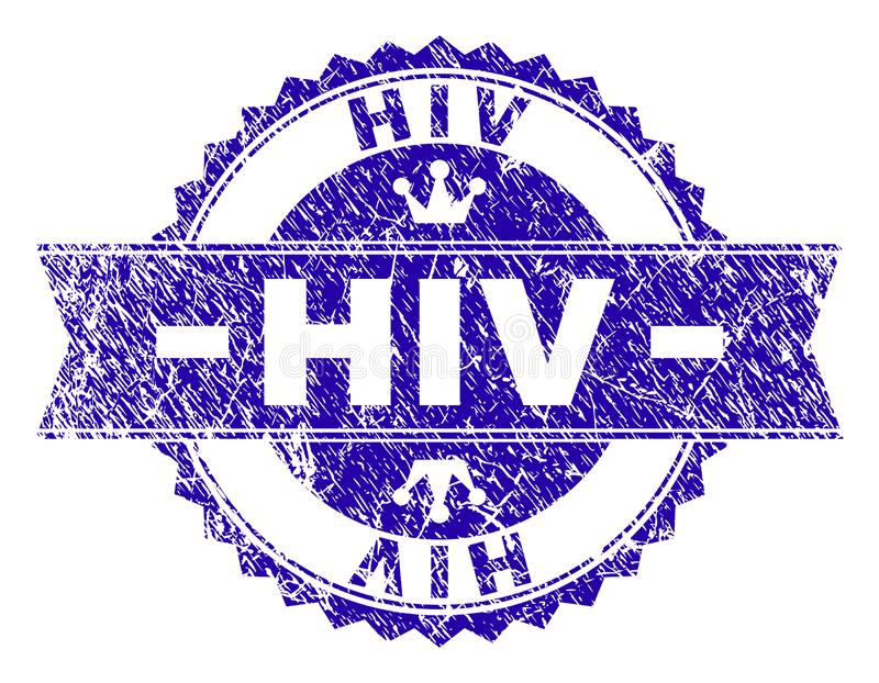 Scratched Textured HIV Stamp Seal with Ribbon. HIV rosette stamp seal watermark with distress style. Designed with round rosette, ribbon and small crowns. Blue royalty free illustration