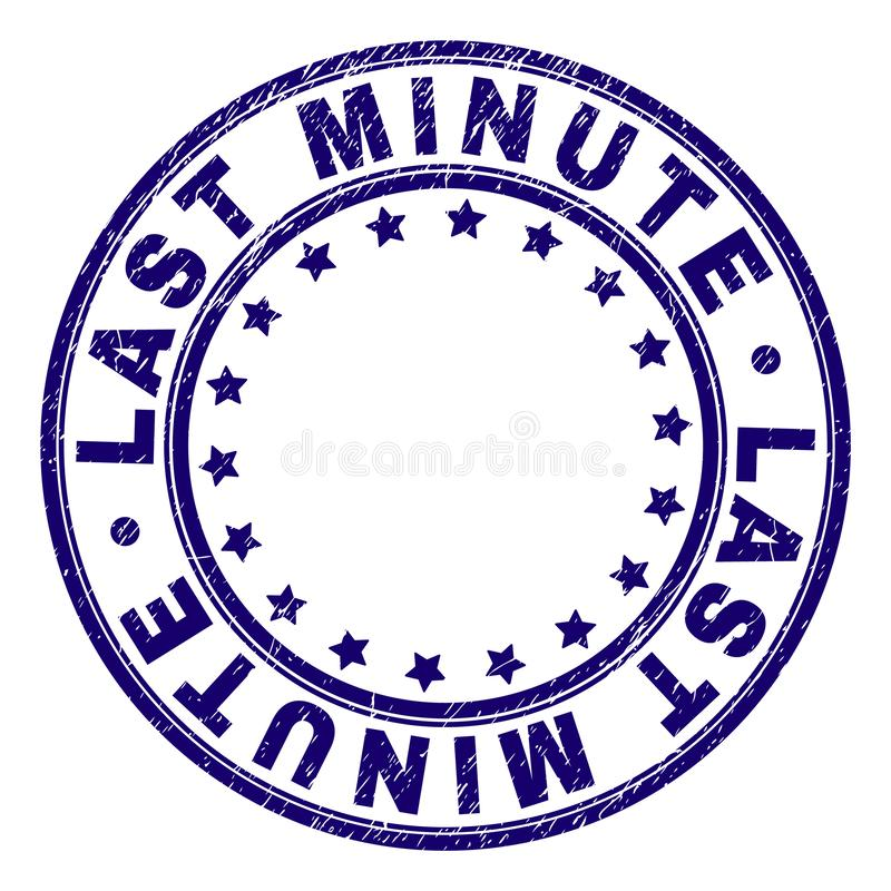 Scratched Textured LAST MINUTE Round Stamp Seal royalty free illustration