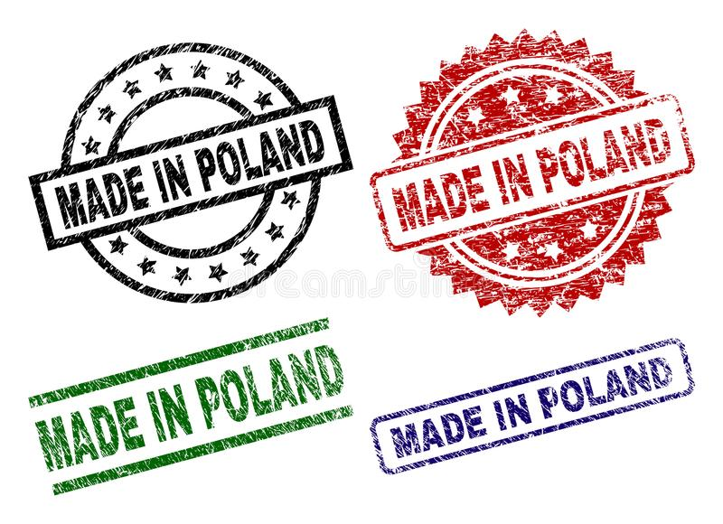 Scratched Textured MADE IN POLAND Stamp Seals royalty free illustration
