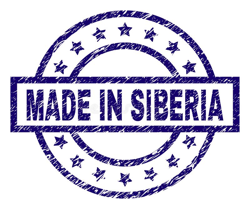 Scratched Textured MADE IN SIBERIA Stamp Seal. MADE IN SIBERIA stamp seal watermark with grunge texture. Designed with rectangle, circles and stars. Blue vector vector illustration