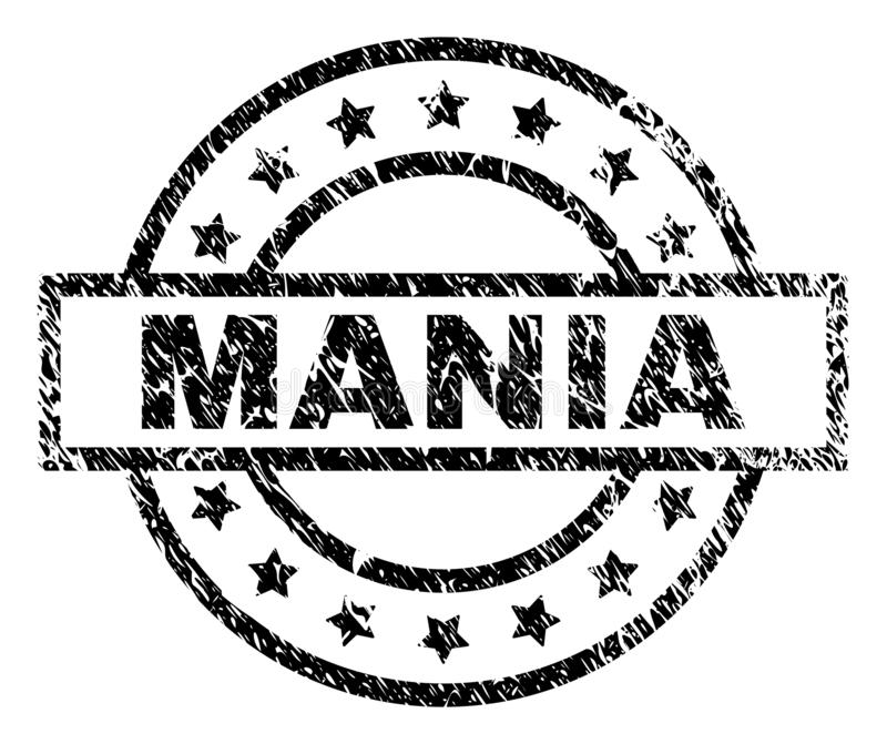 Scratched Textured MANIA Stamp Seal. MANIA stamp seal watermark with distress style. Designed with rectangle, circles and stars. Black vector rubber print of vector illustration