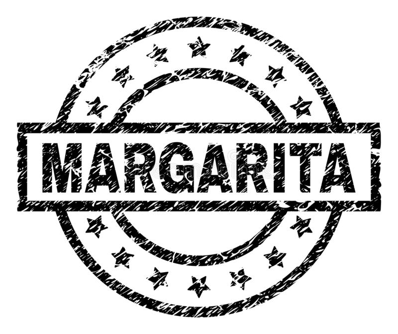 Scratched Textured MARGARITA Stamp Seal. MARGARITA stamp seal watermark with distress style. Designed with rectangle, circles and stars. Black vector rubber vector illustration