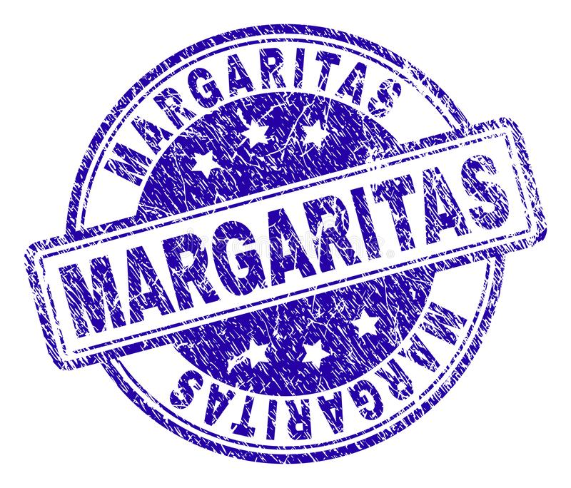 Scratched Textured MARGARITAS Stamp Seal. MARGAS stamp seal imprint with grunge texture. Designed with rounded rectangles and circles. Blue vector rubber print vector illustration