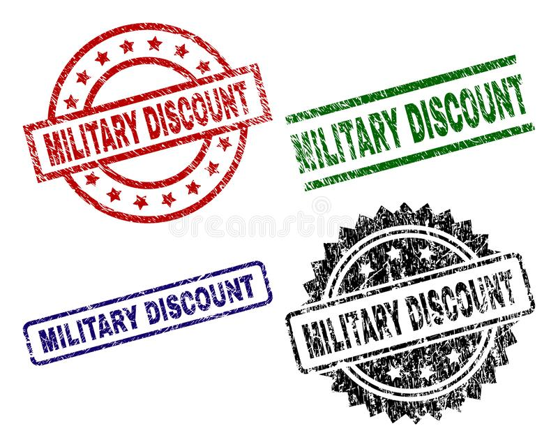 Scratched Textured MILITARY DISCOUNT Stamp Seals royalty free illustration