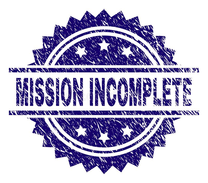 Scratched Textured MISSION INCOMPLETE Stamp Seal. MISSION INCOMPLETE stamp seal watermark with distress style. Blue vector rubber print of MISSION INCOMPLETE vector illustration
