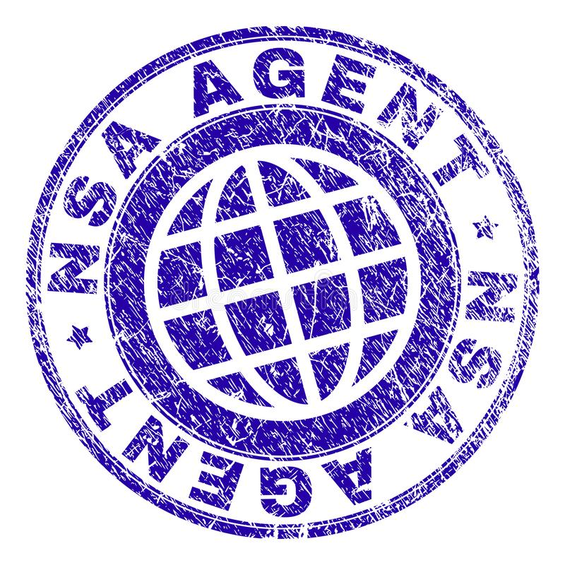 Scratched Textured NSA AGENT Stamp Seal. NSA AGENT stamp print with grunge style. Blue vector rubber seal print of NSA AGENT tag with grunge texture. Seal has vector illustration
