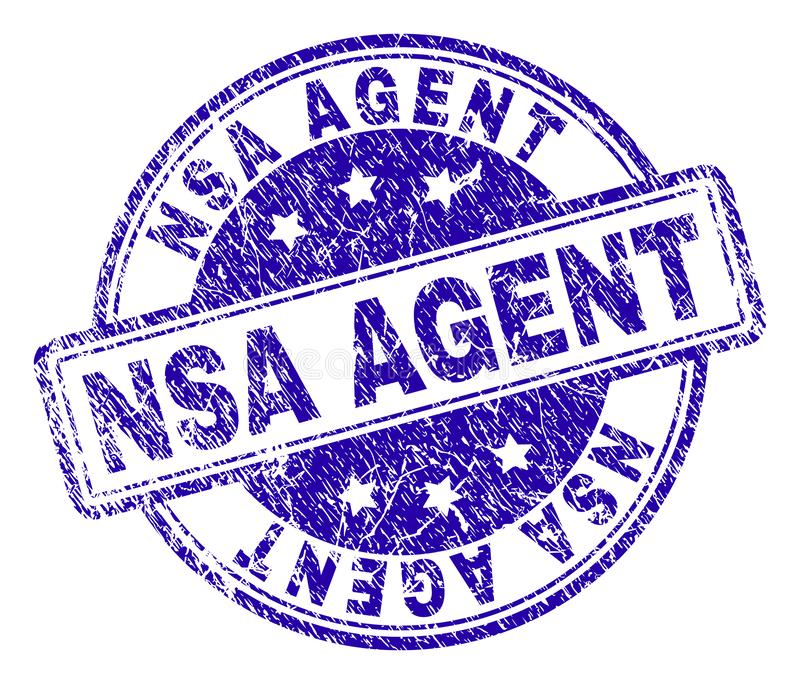 Scratched Textured NSA AGENT Stamp Seal. NSA AGENT stamp seal watermark with grunge texture. Designed with rounded rectangles and circles. Blue vector rubber stock illustration
