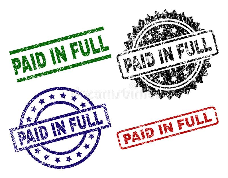 Scratched Textured PAID IN FULL Stamp Seals. PAID IN FULL seal prints with distress surface. Black, green,red,blue vector rubber prints of PAID IN FULL tag with vector illustration