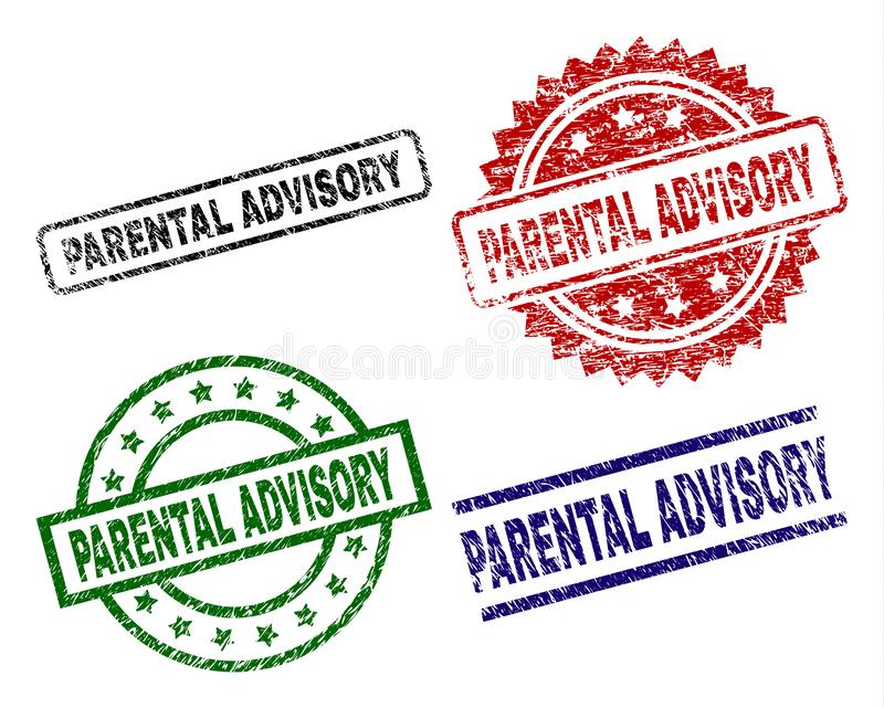 Scratched Textured PARENTAL ADVISORY Stamp Seals royalty free illustration