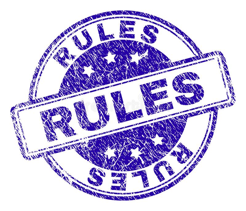 Scratched Textured RULES Stamp Seal stock illustration
