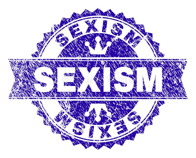 Scratched Textured SEXISM Stamp Seal with Ribbon. SEXISM rosette stamp watermark with grunge texture. Designed with round rosette, ribbon and small crowns. Blue royalty free illustration