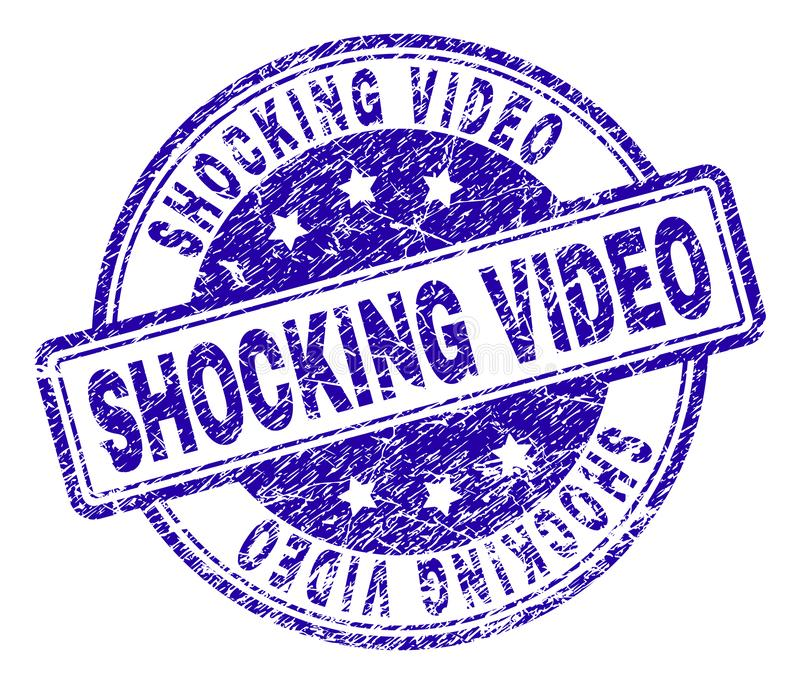 Scratched Textured SHOCKING VIDEO Stamp Seal royalty free illustration