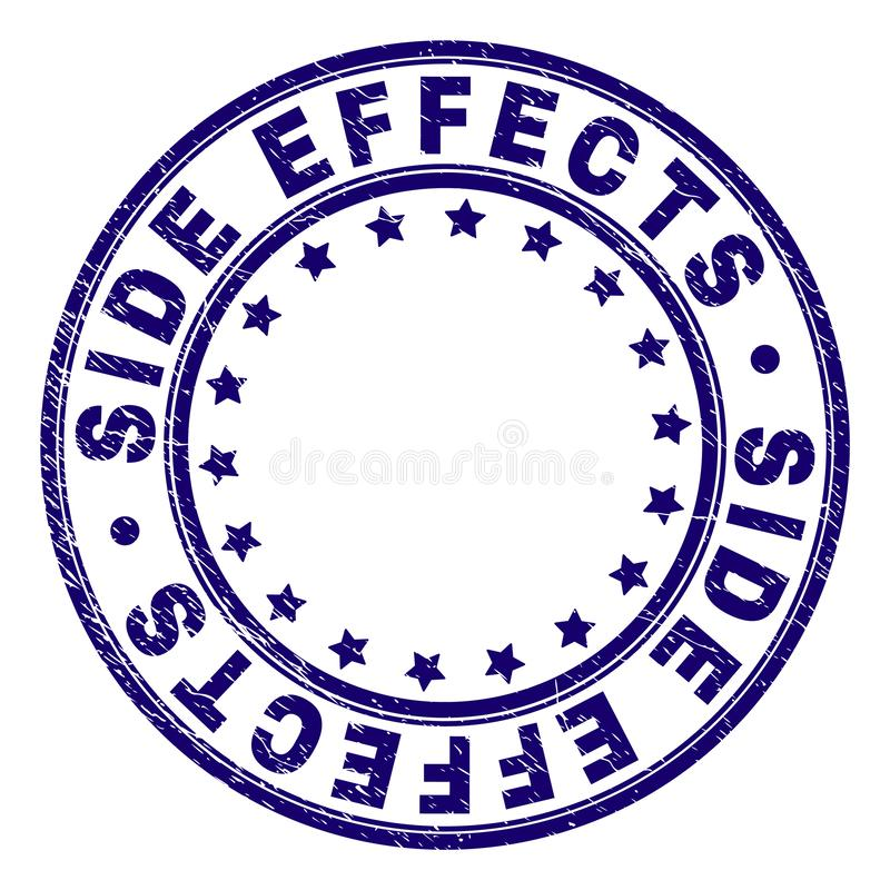 Scratched Textured SIDE EFFECTS Round Stamp Seal. SIDE EFFECTS stamp seal watermark with grunge texture. Designed with round shapes and stars. Blue vector rubber royalty free illustration