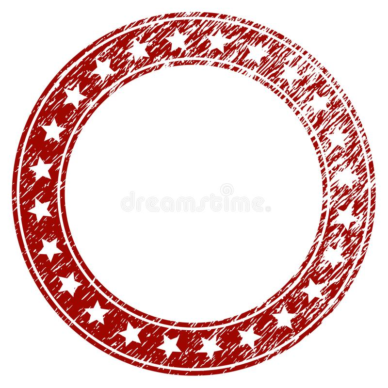 Scratched Textured Stars Round Frame stock illustration