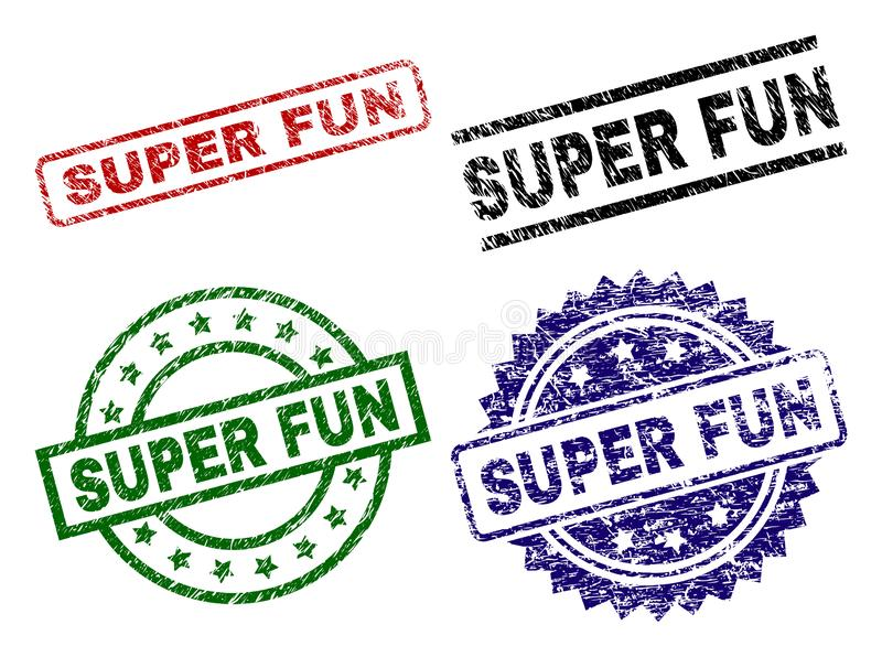 Scratched Textured SUPER FUN Stamp Seals. SUPER FUN seal prints with damaged texture. Black, green,red,blue vector rubber prints of SUPER FUN caption with dust royalty free illustration