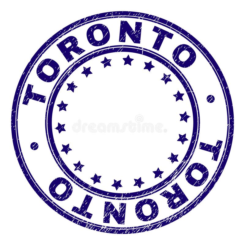 Scratched Textured TORONTO Round Stamp Seal. TORONTO stamp seal imprint with distress texture. Designed with round shapes and stars. Blue vector rubber print of royalty free illustration