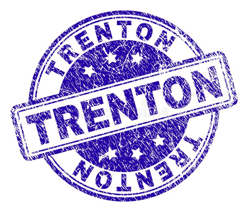 Scratched Textured TRENTON Stamp Seal. TRENTON stamp seal imprint with distress texture. Designed with rounded rectangles and circles. Blue vector rubber print royalty free illustration
