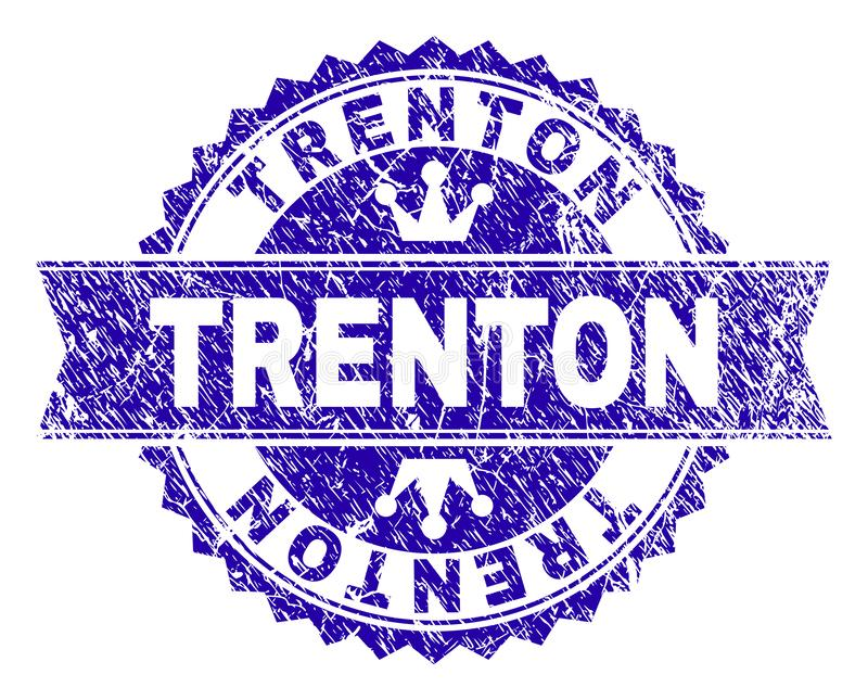 Scratched Textured TRENTON Stamp Seal with Ribbon. TRENTON rosette stamp seal watermark with grunge effect. Designed with round rosette, ribbon and small crowns stock illustration
