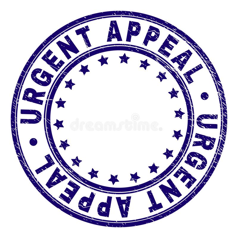 Scratched Textured URGENT APPEAL Round Stamp Seal. URGENT APPEAL stamp seal watermark with grunge texture. Designed with round shapes and stars. Blue vector royalty free illustration