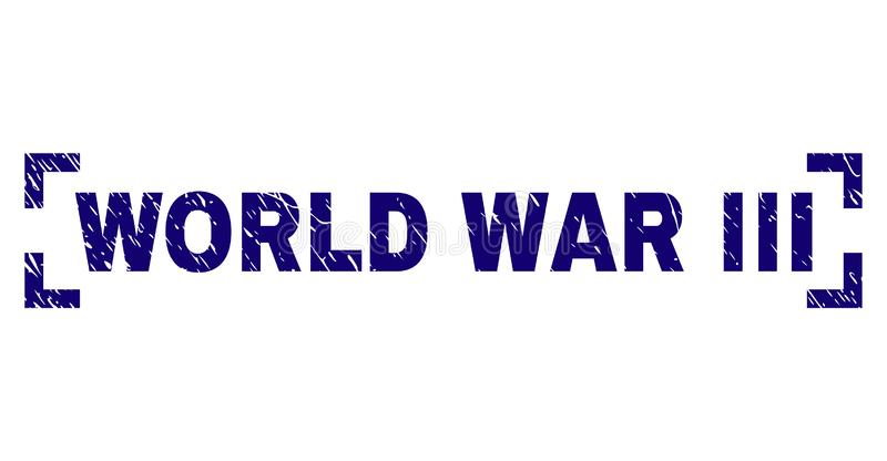 Scratched Textured WORLD WAR III Stamp Seal Inside Corners. WORLD WAR III label seal watermark with corroded texture. Text label is placed inside corners. Blue royalty free illustration