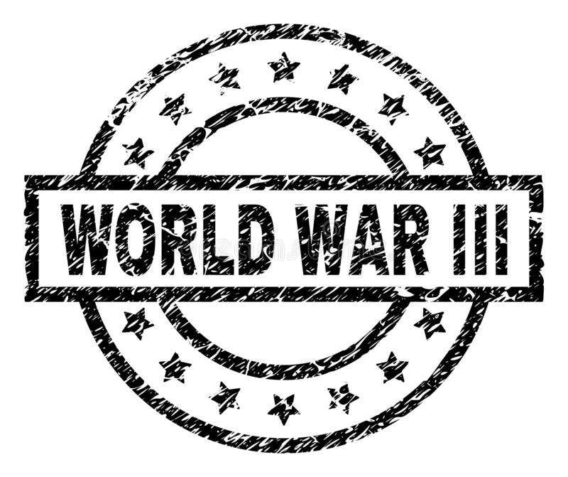 Scratched Textured WORLD WAR III Stamp Seal. WORLD WAR III stamp seal watermark with distress style. Designed with rectangle, circles and stars. Black vector vector illustration