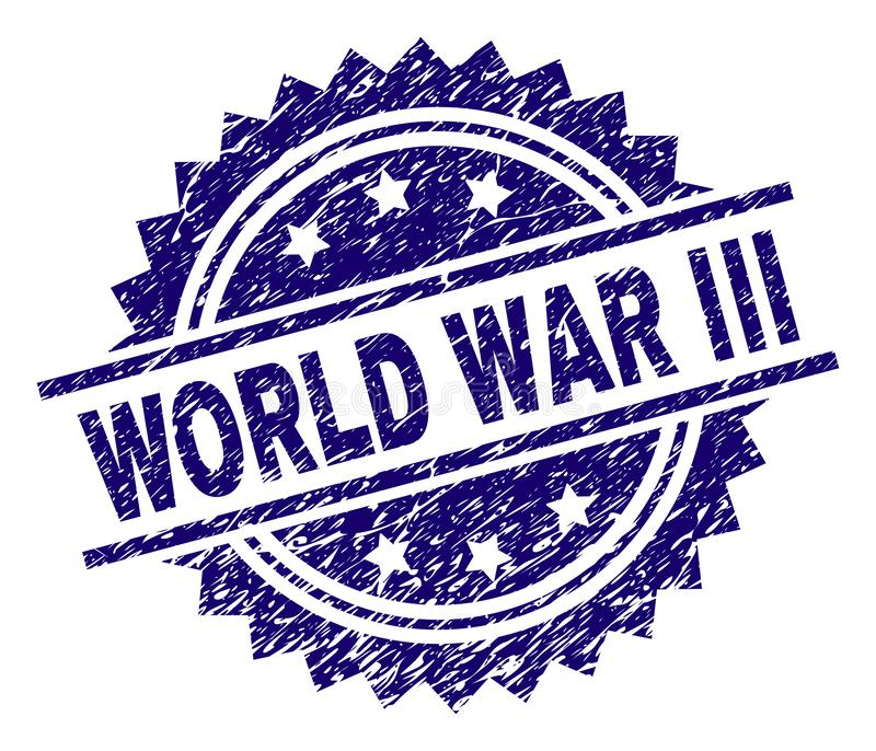 Scratched Textured WORLD WAR III Stamp Seal. WORLD WAR III stamp seal watermark with distress style. Blue vector rubber print of WORLD WAR III label with dust vector illustration