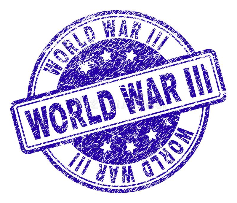 Scratched Textured WORLD WAR III Stamp Seal. WORLD WAR III stamp seal watermark with grunge texture. Designed with rounded rectangles and circles. Blue vector royalty free illustration