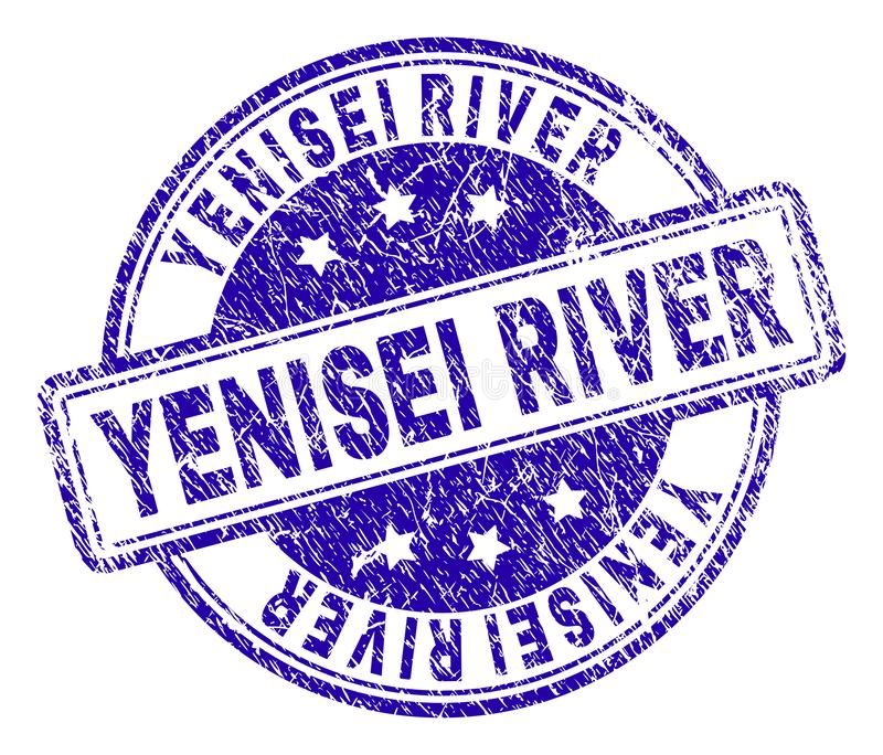 Scratched Textured YENISEI RIVER Stamp Seal. YENISEI RIVER stamp seal watermark with grunge texture. Designed with rounded rectangles and circles. Blue vector royalty free illustration