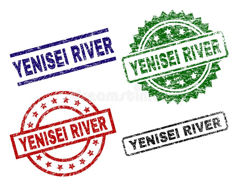 Scratched Textured YENISEI RIVER Stamp Seals. YENISEI RIVER seal prints with damaged surface. Black, green,red,blue vector rubber prints of YENISEI RIVER title royalty free illustration